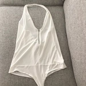 Women's White Thong Body Suit Halter Top Size L